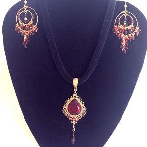 Gold Necklace & Earring Set-Red Stone-Velvet Cord